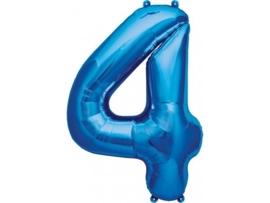 Cijfer - 4 - nummer - Blauw - Folie ballon (lucht) - 16inch / 40 cm