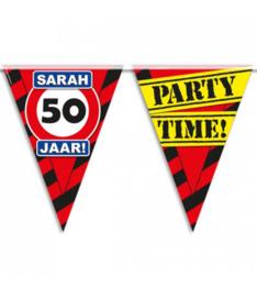 50 Verkeersbord - Sarah - 50 jaar  -  Party Time! - Vlaggenlijn - 10 m