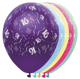 16 - Nummer - div. kleuren -  Latex Ballon - 11 Inch / 27,5 cm