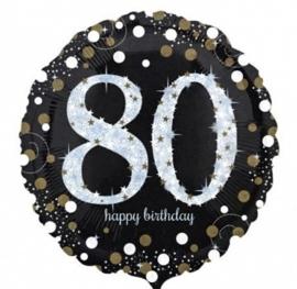 80  - Folie Ballon-Happy Birthday -Confetti - Zilver / Zwart  17 Inch / 43 cm.