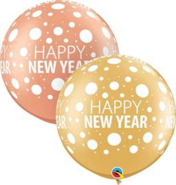 Happy New Year - XXL Latex Ballon - Goud / Rose Goud - 30 Inch / 75 cm - 2 st