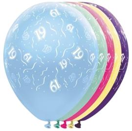 19 - Nummer - div. kleuren - latex ballon - 11 Inch. / 27,5 cm