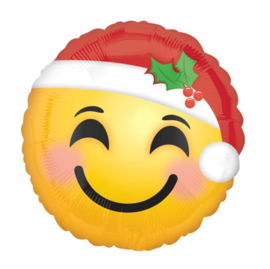 Kerstman Smiley - Kerst Emoticon - Folie Ballon - 17 Inch / 43 cm