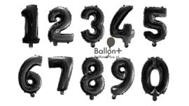 Cijfer - 1,2,3,4,5,6,7,8,9,0, - Zwart -Folie Ballon - Nummer - 16 inch/41cm