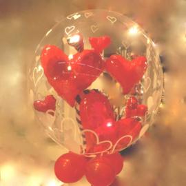 Bubbles- Dubbele Ballon  - Rode Harten -24 Inch / 60 cm