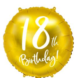 18th Birthday! - Gouden Folie Ballon - 18 inch/45 cm