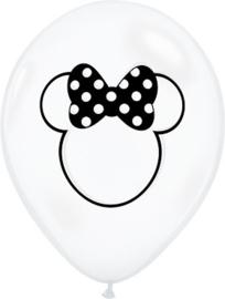 Disney Minnie Mouse - Doorzichtige Latex Ballon - 11 inch/ 27,5 cm - 5 st.