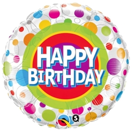 Happy Birthday -Stippen div. Kleuren  -Folie Ballon -  18 inch/45cm