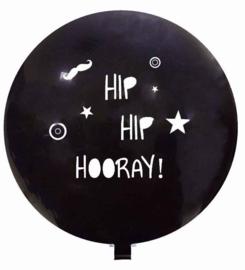 Hip Hip Hooray! - Grote Zwarte Ballon met witte tekst - 80 cm