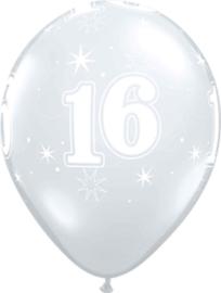 16 - Nummer - Doorzichtige - latex ballon - 11 Inch. / 27,5cm- 5st.