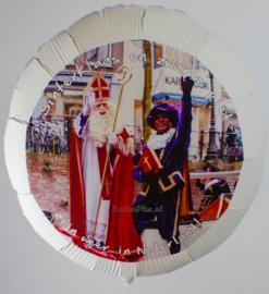Foto Ballon - met Persoonlijke Foto & Tekst - Sint & Piet - Folie Ballon  - 22 Inch / 55 cm -