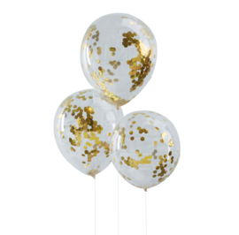 Confetti Latex Ballon - Goud- 12 Inch/ 30 cm -5 st.
