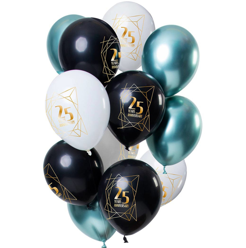 25 jaar Getrouwd  / Jubileum - Wit, Zwart, Groen- Latex Ballonnen - 12 inch/ 30 cm - 12 st.