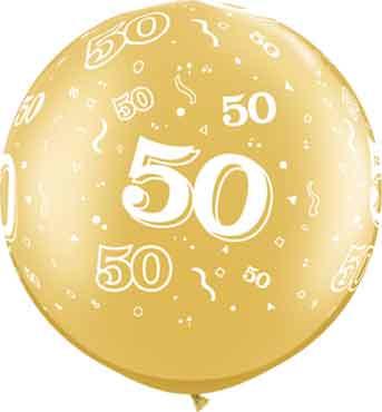 50 - Gouden Ballon XXL -Latex Ballon - 50 jarig Huwelijk - 30Inch / 75cm