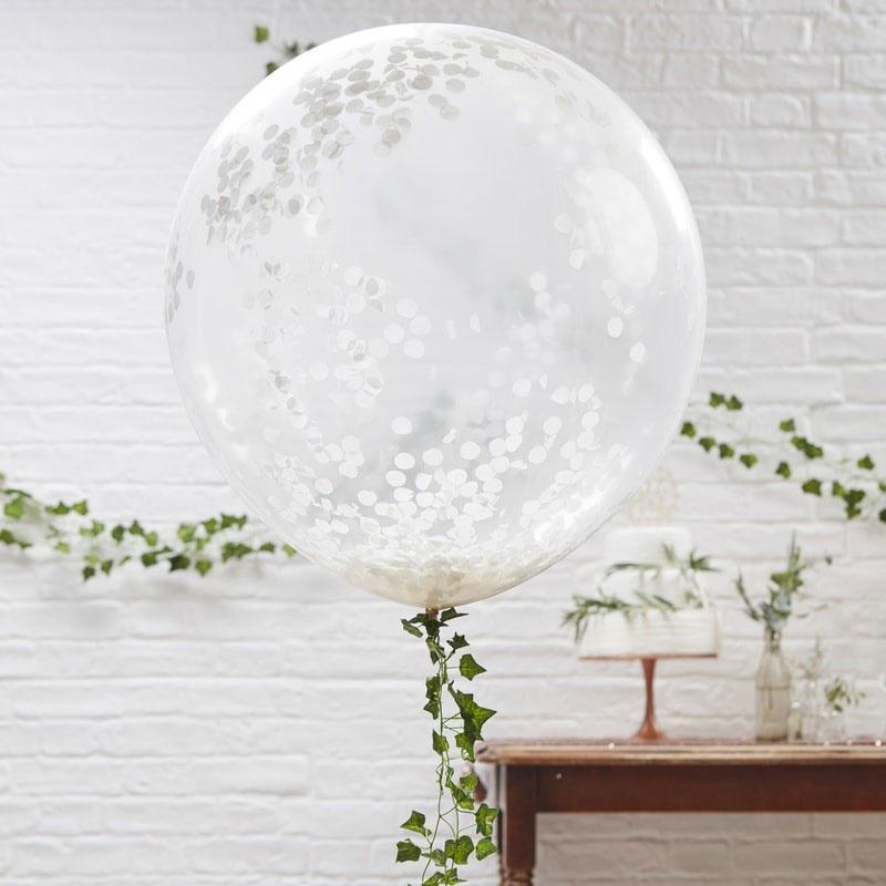 Grote  latex ballonnen met Witte Confetti - 36 inch/90cm - 3 st.