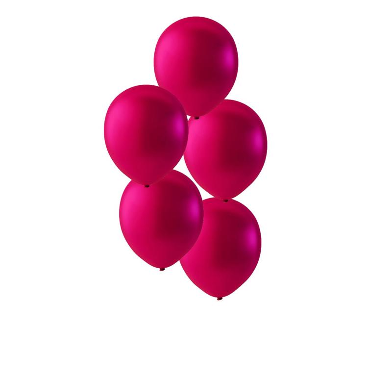 Fuchsia ballonnen om te vullen met helium - Metallic - glans ballonnen - 30 cm - 5stk