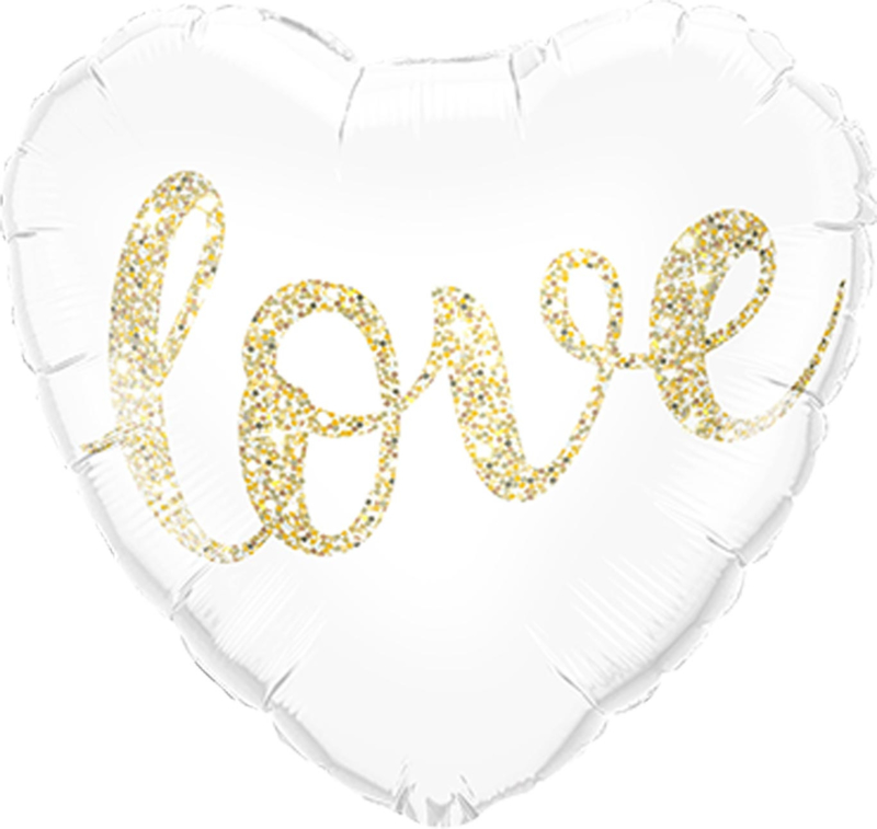 LOVE - Hart Folie ballon H- Glitter Goud - 18 inch/46cm