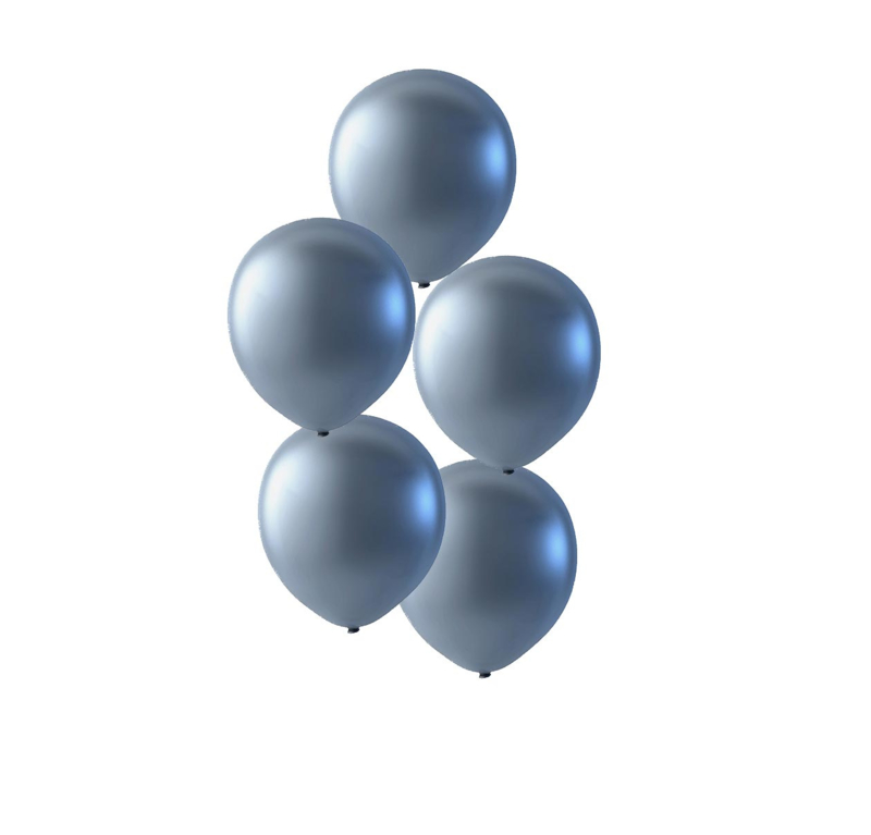 Zilveren latex ballonnen om te vullen met helium - Metallic zilver - glans ballonnen - 30 cm - 5stk