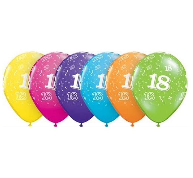 18 - Nummer - div. kleuren -  Latex Ballon - 11 Inch / 27,5 cm