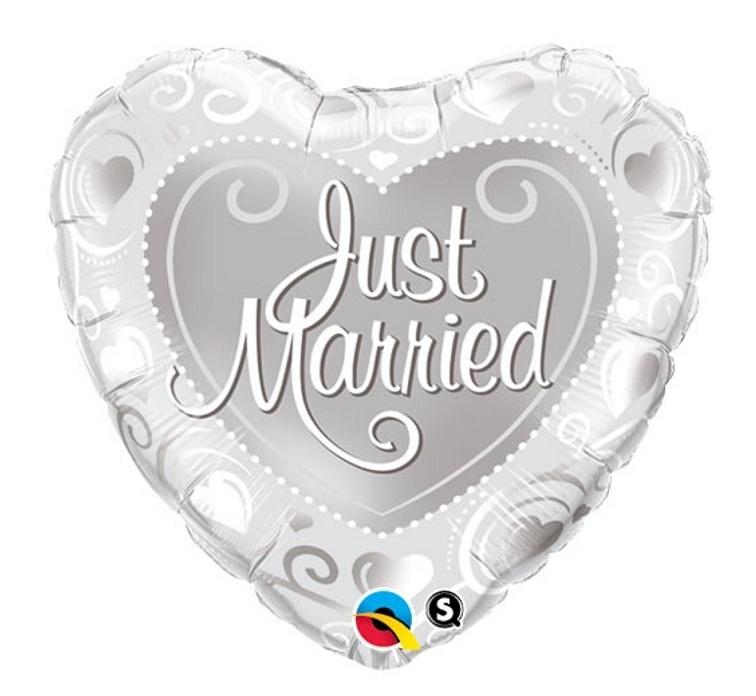Just Married - Folie ballon - Zilver -18 inch/46cm
