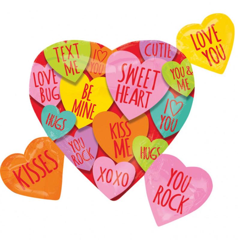 LOVE YOU, XOXO,HUGS,KISSES, ENZ - Snoep hartje tekst- XL Folie Ballon - 27 Inch/68cm
