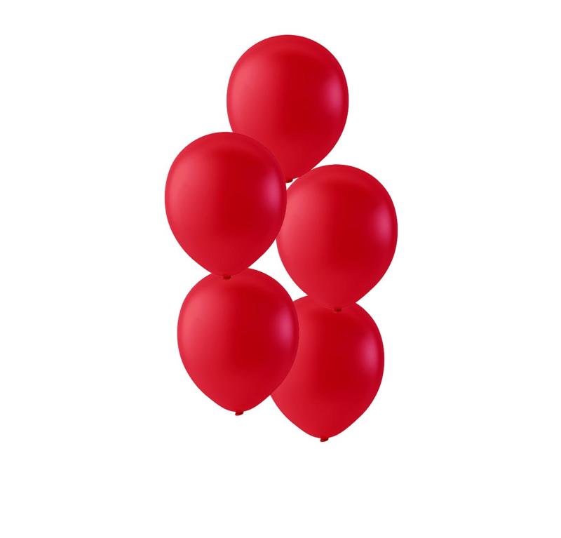 Rode ballonnen om te vullen met helium - Metallic rood - glans ballonnen - 30 cm - 5stk
