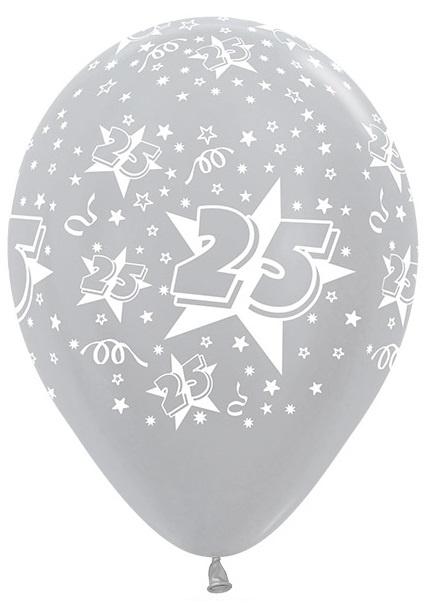 25 -   Zilver - latex ballon - 11 Inch. / 27,5 cm