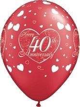 40 jaar -  Getrouwd -  Latex Ballon - 11Inch / 27,5cm - 5 st