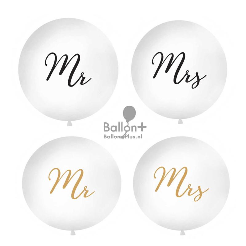 Mega latexballon- MR / MRS. - man /vrouw - ballon huwelijk bruiloft - decoratie mega grote ballon -  90 cm - wit - helium of lucht ballonplus