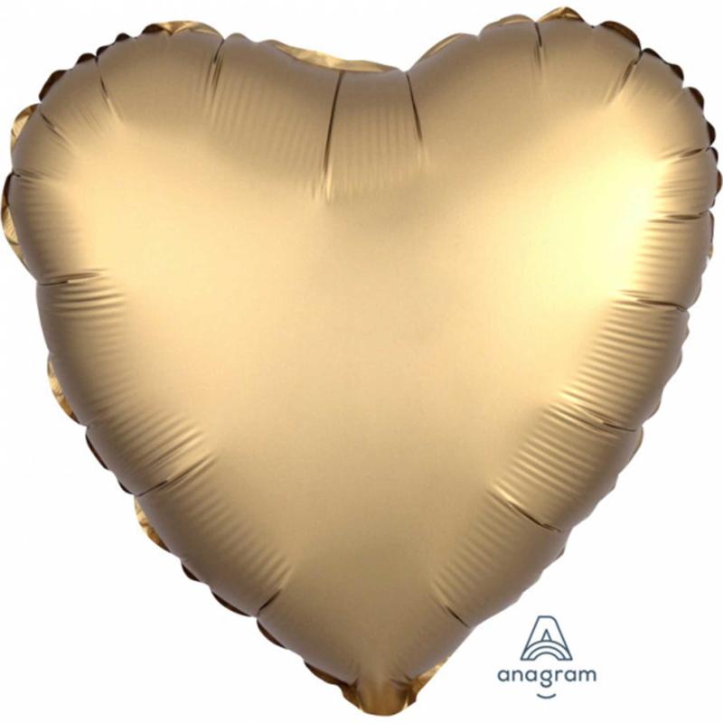Gouden Hart - Satijn Luxe  - Folie Ballon - 17 Inch/43cm