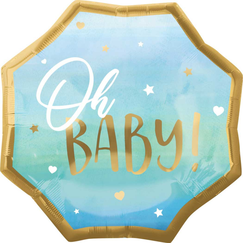 Oh Baby!- Goud/Blauw -XL Folie ballon - 22 Inch / 55 cm