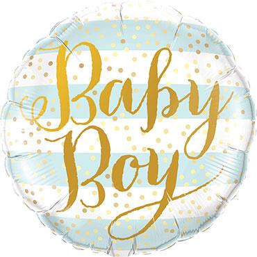 Baby Boy -Licht Blauw / Wit/Goud -Folie Ballon - 18 Inch/46cm