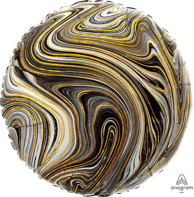 Marmer - Zwart/ Grijs / Goud - 17 Inch / 43 cm