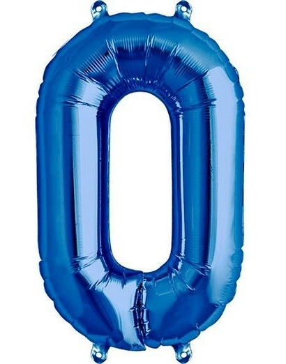 Cijfer - 0 - nummer - Blauw - Folie ballon - 16inch / 40 cm (lucht)