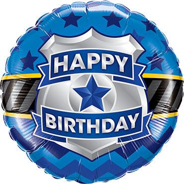 Happy Birthday - Badge Folie Ballon - Blauw/Zwart/Zilver - 18 Inch/46cm