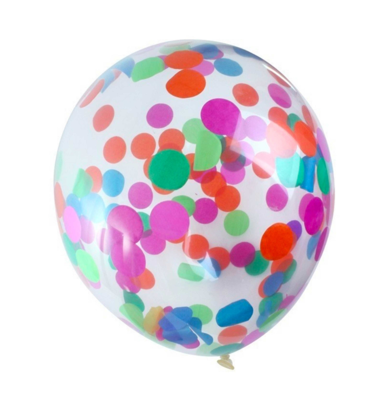 Confetti Ballonnen - div. Kleuren confetti(groot) -Doorzichtige Latex Ballonnen- 12 Inch/ 30 cm - 5 st.