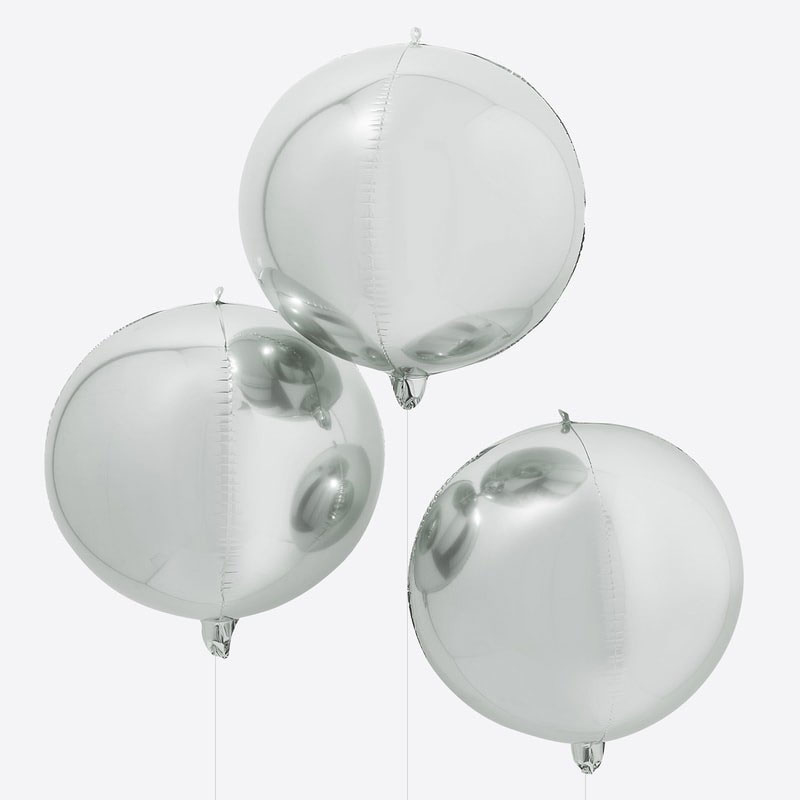 DIY : Zilveren Ballonnen- Rond  -  22 Inch/ 56 cm - set van 3 st.