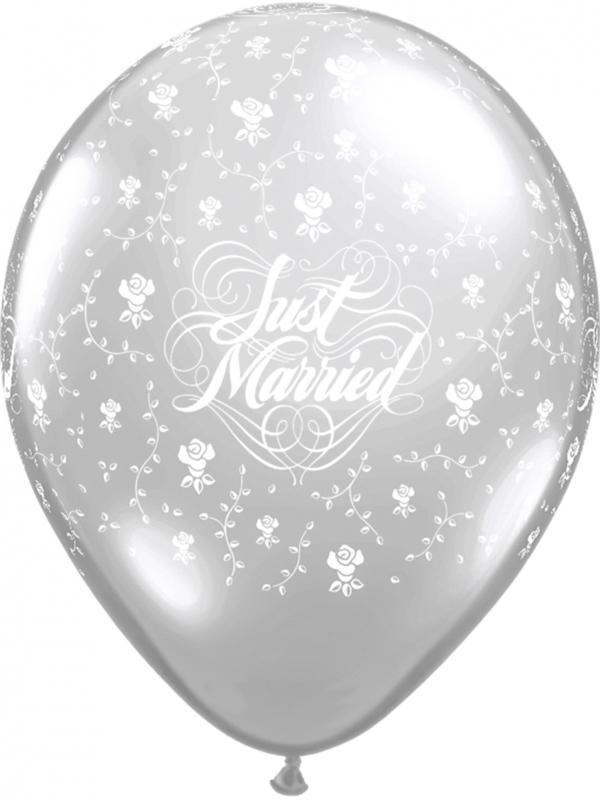 Just Married - Zilver - Bloemen - Latex Ballon - 11 Inch/ 27,5 cm