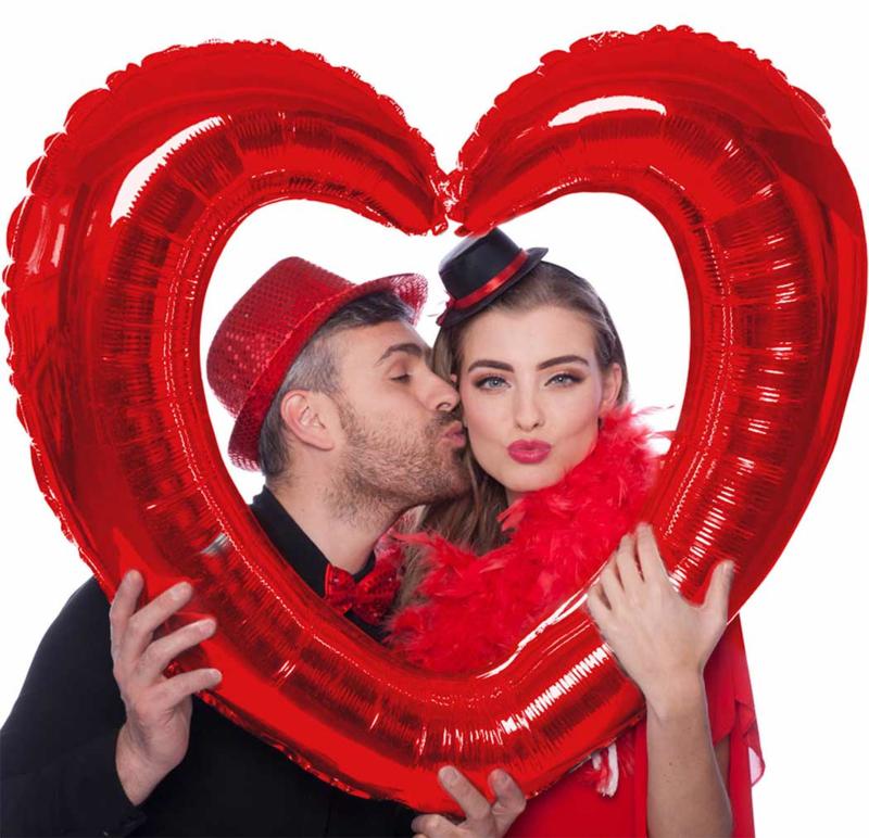 Foto / Selfie Frame Ballon - Rood- Hart  - Folie Ballon - 80x70cm