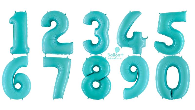 Cijfer - 1,2,3,4,5,6,7,8,9,0 -Pastel Blauw/Mint - XXL Folie Ballon - Nummer - 40 Inch./101cm