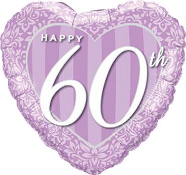 60 Jaar Getrouwd -   Lila Hart Folie Ballon   - 18 Inch/ 46 cm