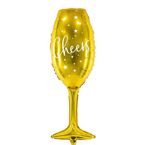 Cheers - Gouden Champagne Glas Folie Ballon- XXL -11x31,5 Inch/28x80 cm