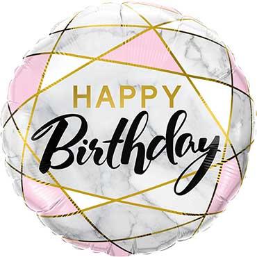Happy Birthday - Marmer Style - Goud/Roze - Folie ballon - 18 Inch/ 45 cm