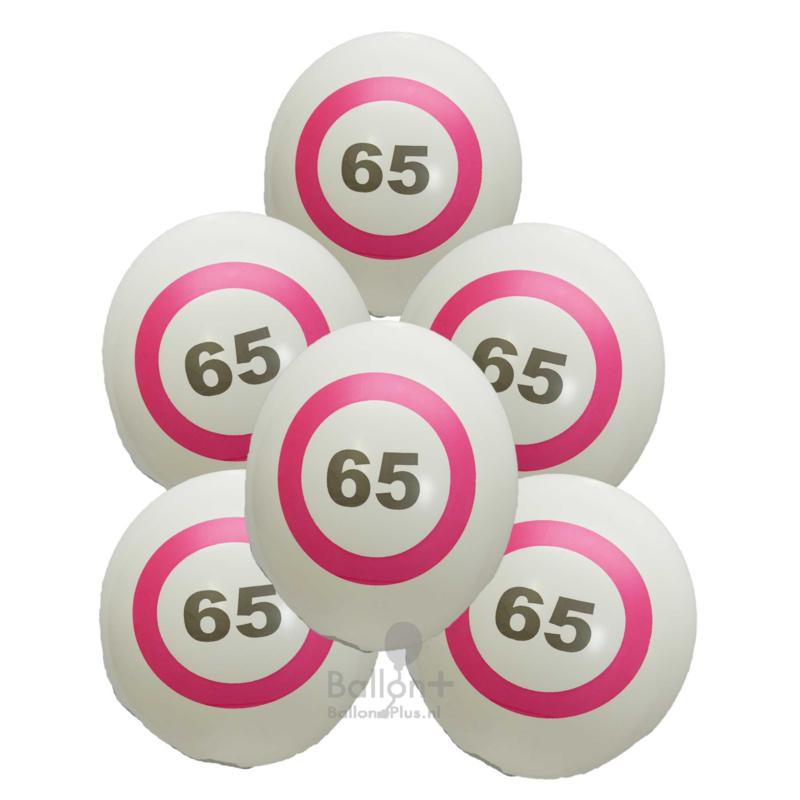 65 - nummer - verkeersbord  - latex ballon - 11 inch/27,5cm - 6 st.