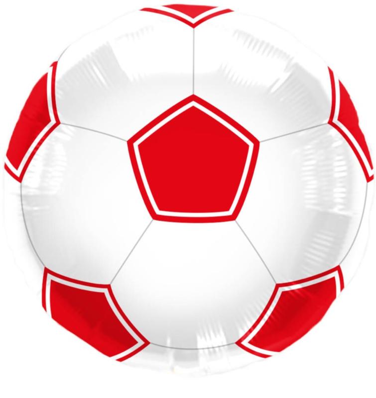 Voetbal - Folie Ballon - Rood/Wit - 17 inch/45cm