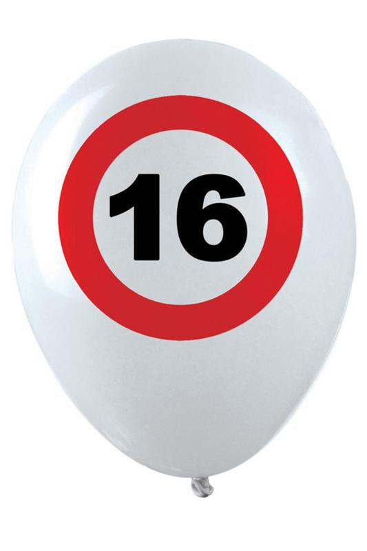 16 - Verkeersbord - Leeftijd- Witte Latex Ballon - 12 Inch/30 cm - 6 st.