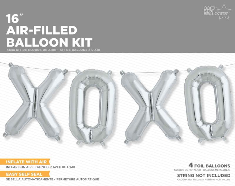 XOXO- zilveren folie ballonnen - 16 Inch / 40cm