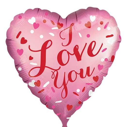 I Love You -Folie Ballon -Hart- Satijn Roze- 18 Inch/45cm