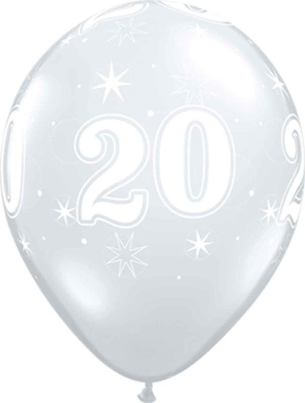 20 - Nummer - Doorzichtige - latex ballon - 11 Inch. / 27,5cm- 5 st.