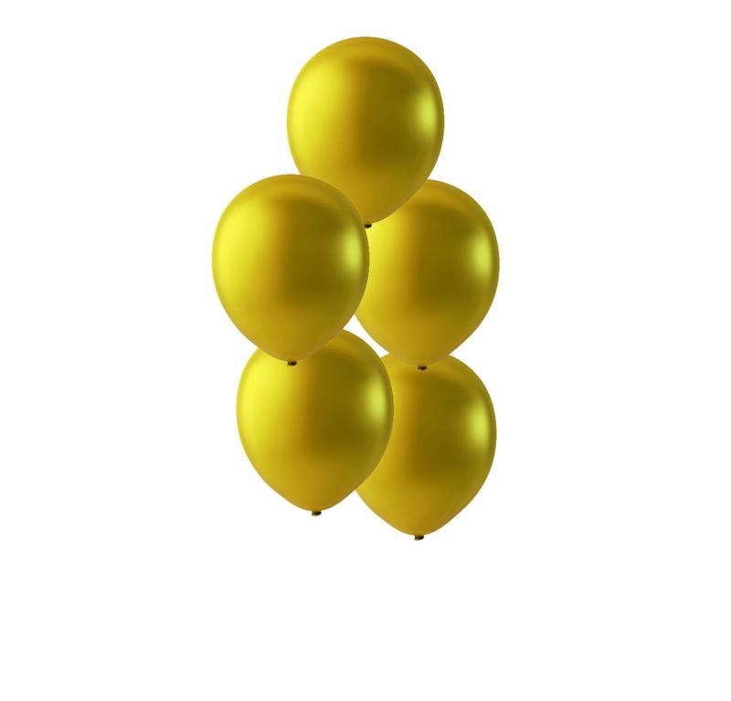 Gouden latex ballonnen om te vullen met helium - Metallic goud - glans ballonnen - 30cm - 5stk